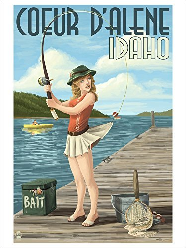 Coeur D Alene, Idaho Fishing Pinup Girl (Playing Card Deck 52 Card Poker Size With Jokers)