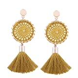 setmei moda Vintage mujeres Boho Bohemio Pendientes Largo borlas pendientes colgantes, amarillo, as the picture shown