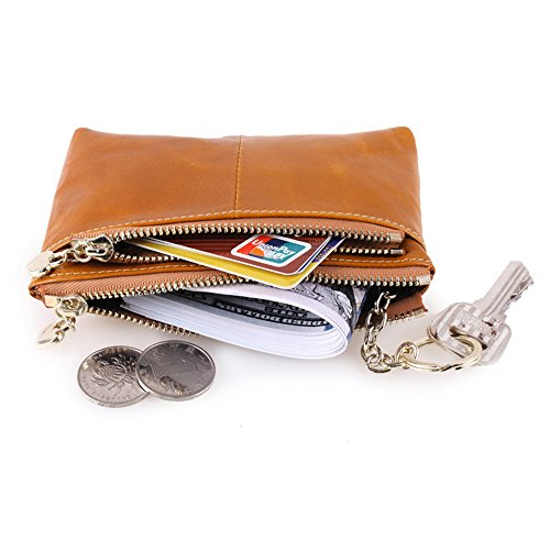 Mini supporto della moneta della carta della borsa in pelle Myleas unisex tripla cerniera con portachiavi Marrone Scuro