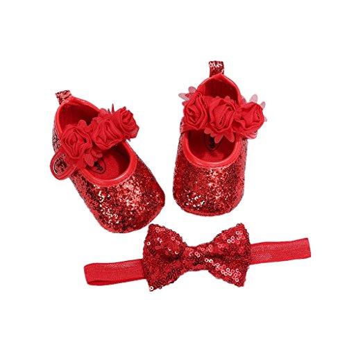 Auxma Babyschuhe für 0-18 Monate, Baby Mädchen Bequeme Anti-Rutsch Prinzessin Kleinkind Schuhe Krabbel Hausschuhe mit 1 PC Stirnbänder Haarband (12cm/6-12 M, rot)