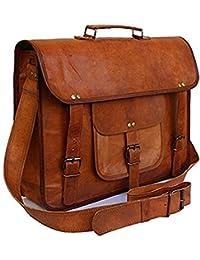 Classic Satchel 13 Inches Laptop Leather Bag , Real Leather Big Pocket Hunter Laptop Messenger Shoulder Bag For...