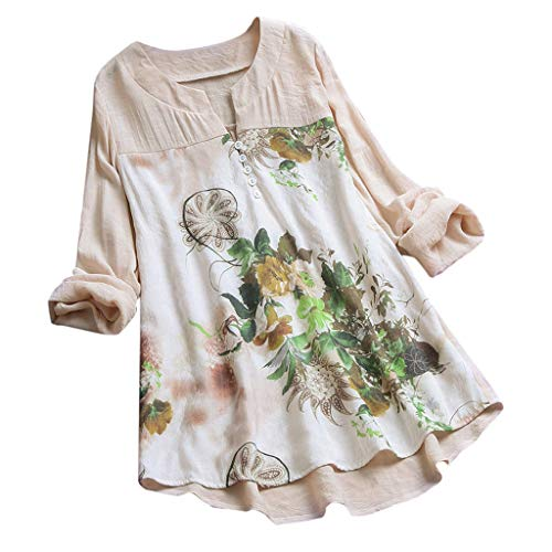 MRULIC Damen Langarm Shirt Beiläufige Lose Baumwolle Frühling Herbst Tops Solide Elegante T-Shirt Freizeithemd(A1-Beige,EU-38/CN-M)