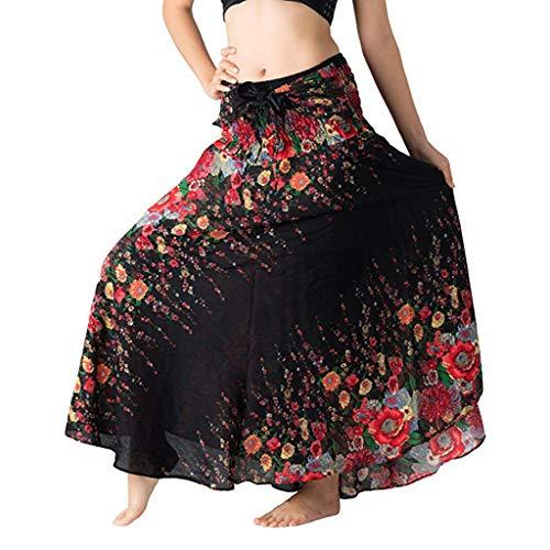 Hem Midi Skirt (Dasongff 2 in 1 Halter Rock Langer Hippie Bohemien Zigeuner Boho Blumen Elastisch Taille Blumen Yoga Taste Abendkleider Partykleid Sommerkleid Strandkleid Midikleid Rockabilly Neckholder Kleid)