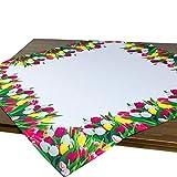 Tischdecke TULPENWIESE / 85x85 cm/Modern Bedruckte weiße Mitteldecke für Den Frühling