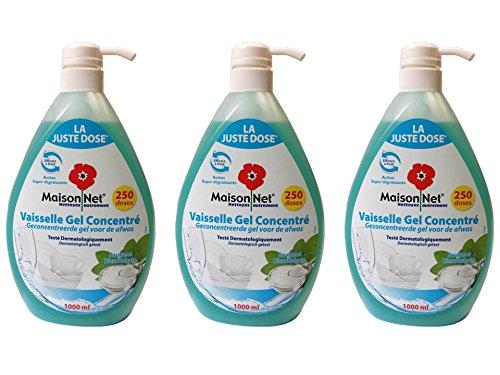 maison-net-gel-concentre-vaisselle-sauge-bicarbonate-1000-ml-lot-de-3