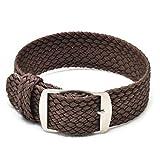 Ullchro Nylon Bracelet Montre Remplacer Haute Qualité Perlon Tissé Bracelet Montre NATO Homme Femme - 14, 16, 18, 20, 22mm Montre Bracelet avec Acier Inoxydable Boucle (20mm, brun)