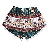 Kurzehose Damen,Sonnena Sommer Mode Frauen Hohe Taille Boho Print Shorts Mini Hosen Damen Lässig Lose Quasten Hotpants Reizvoller Hotpants Beachhose Beach Shorts (XL, Mehrfarbig Sexy)
