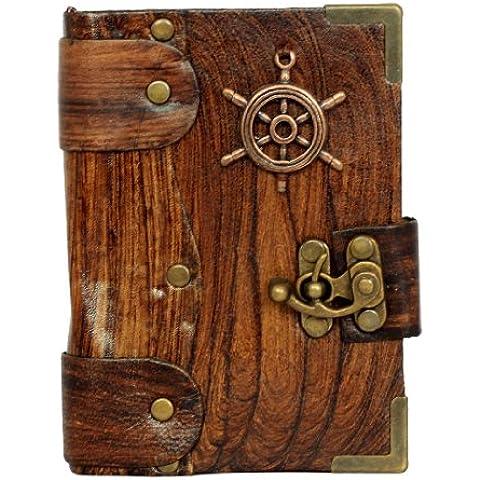 Barcos colgante de la rueda marrón/diario de cuero diario/cuaderno/cerradura Letherbound/