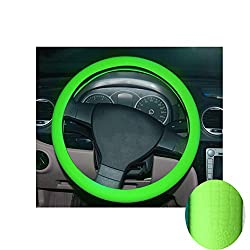 K-bright Anti Rutsch Lenkradbezug Echt Leder Lenkradhulle Lenkradschoner Fahrzeug Auto Lenkradabdeckung Vehicle Genuine Leather Car Steering Wheel Cover (Grün)