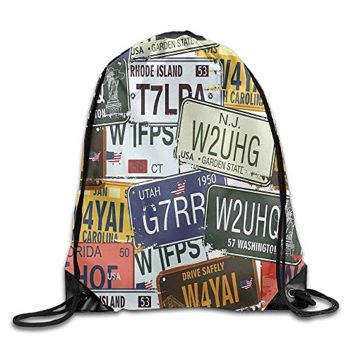 HLKPE Original Retro License Plates Creative Travel Collections Art Drawstring Gym Sack Sport Bag for Men and Women