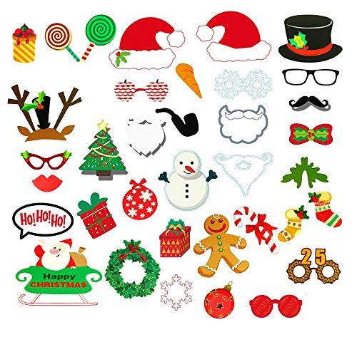 Sayala 35 Stück Party Foto Verkleidung Schnurrbart Lippen Brille Krawatte Hüten Photo Booth Props Set Weihnachten Party