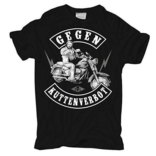 Männer und Herren T-Shirt Gegen Kuttenverbot Körperbetont schwarz