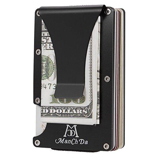Schwarz Aluminium Schlank Brieftasche ManChDa Front Taschenmappe & Geldscheinklammer Minimalistisch Brieftasche RFID-Blockierung Für Männer Frauen + Geschenkbox (Wallet Card Credit Schlank)