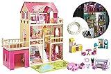 KinderplayGreen Puppenhaus, Puppenvilla Puppenhaus Barbiehaus Traumhaus Holz Puppenstube GS0020 LED-Licht Zubehör Set Garage, Terrasse