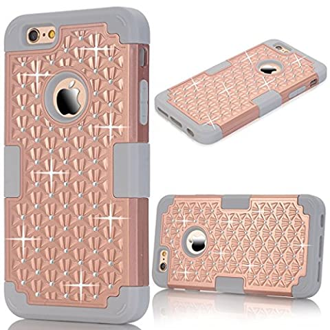 iPhone 6S Case, iPhone 6 Cover, GrandEver Dual Layer Hybrid Silicone Armor Protective Case for Apple iPhone 6S/6 Full Body Tough Cover with Bling Diamond Design iPhone 6 Silicone Bumper Outer + Hard PC Back Case Shockproof Heavy Duty Protection Shell for Apple iPhone 6S/iPhone 6 (4.7