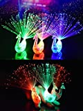 MuLucky 12Pcs Las luces coloridas creativas del anillo del dedo del pavo real LED encienden para arriba los favores del partido del resplandor