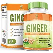 Ingwer Extrakt 12000mg - Ginger Root - Hochwirksamer 20:1 Extrakt – Geeignet für Vegetarier - 90 Tabletten (3 Monte Vorrat) von Earths Design