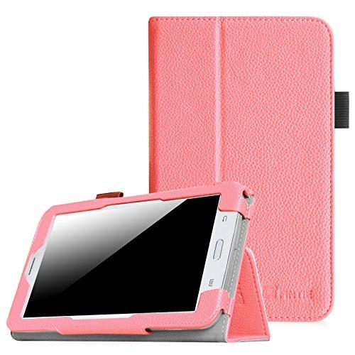 [Eckenschutz] Fintie Samsung Galaxy Tab 3 7.0 Lite T110 T111 T113 T116 Hülle Case - Slim Fit Folio Bookstyle Kunstleder Schutzhülle Cover Tasche mit Ständerfunktion für Tab 3 Lite 7.0 Zoll Tablet, Rosa
