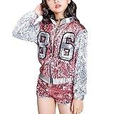Yudesun Tanzsport Bekleidung Mädchen Kleider - Kinder Erwachsene Tanzen Hip Hop Modern Kostüme Pailletten Anzüge Sets Weste + Shorts Mantel