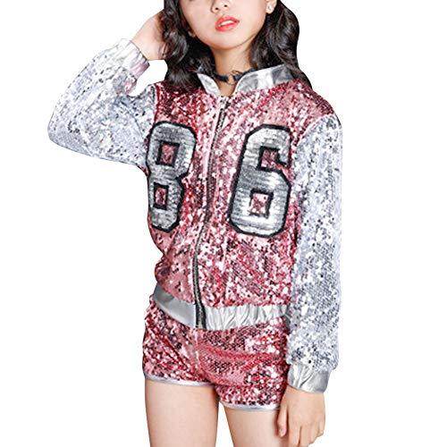 (Yudesun Tanzsport Bekleidung Mädchen Kleider - Kinder Erwachsene Tanzen Hip Hop Modern Kostüme Pailletten Anzüge Sets Weste + Shorts Mantel)