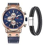 Mini Focus Herren Uhren, Minimalist Fashion Luxus Handgelenk Uhren für Männer mit Band aus echtem Leder Timer Kalender Wasserdicht (Gold)