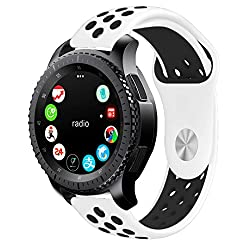 Samsung Gear S3 Strap, Kades Gear S3 Sport Band Silicone Replacement Watch Strap For Gear S3 Frontier Classic (Large, Whiteblack)