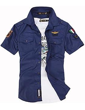 LLS-camicia casual leggera/Camicia manica corta Uomo/Camicia Uomo Maglietta / Men Shirts Slim Fit/Camicia manica...
