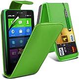 (Grün) Nokia X Custom Designed Stilvolle Accessoires zur Auswahl Schutzmaßnahmen Kunst Credit / Debit-Karten-Leder Flip Case Hülle, Retractable Touch Screen Stylus Pen & LCD-Display Schutzfolie von Hülle Spyrox