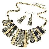 SMILEQ Collar de Cadena de Bohemia de Estilo Mixto para Mujer + Joyas de Pendientes (Dorado)