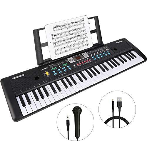 WOSTOO Teclado Electrónico Piano 61 Teclas, Teclado de Piano Portátil con Atril, Micrófono, Fuente de Alimentación, Música Digital, Teclado de Piano para Niños/Adultos