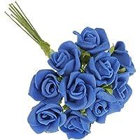 100pcs Mini Rosas Artificiales Ramo Flores Plantas Inicio Decoración Hogar Novia Boda - Azul oscuro