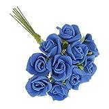 Homyl 100Pcs Mini Artificiale Roses Fore Finto Bouquet Matrimonio Casa Romantica Cerimonia Nozze Decorazione - Blu Scuro