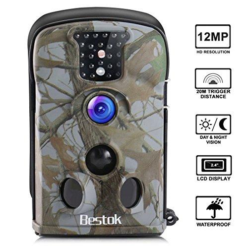 """Bestok Wildkamera Fotofalle Full HD 12MP 120° Breite Jagdkamera Vision Infrarote 20m Nachtsicht Wasserdichte Gartenkamera 2.4\"""" LCD Überwachungskamera (52102)"""