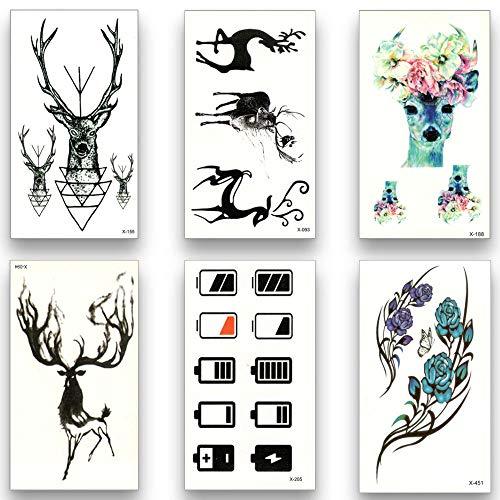 too-Aufkleber 12 Stücke Gefälschte Temporäre wasserdichte Tattoo Wassertransfer Einweg Deer Blume Aufkleber Schönheit Sexy Art Live of Song ()