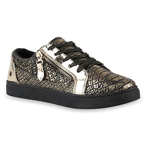 Damen Sneakers Metallic Sneaker Low Zipper Glitzer Schuhe Lack Animal Print Turnschuhe Sportschuhe Leder-Optik Plateau Flats Flandell Gold Autol Reißverschluss
