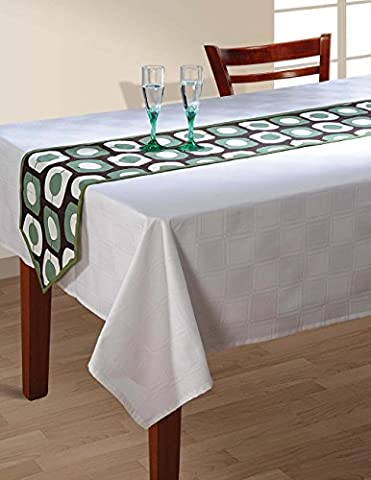 Indian Patterned Duck Cotton Table Runner - 13 x 72 Inches - Sage Green, White and Chocolate Brown Deco