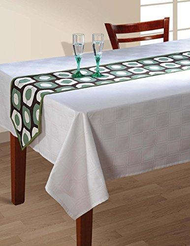 indischen gemustert Ente Baumwolle Tischläufer–33x 182,9cm–Salbei Grün, Weiß und Schokolade Braun Deco Dot, baumwolle, Schwarz, Grün, Weiß, 13X36 Inches