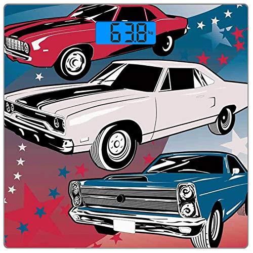 Precision Digital Body Weight Scale Autos Ultra Slim Gehärtetes Glas Personenwaage Genaue Gewichtsmessungen, Pop Art Stilisierte Gruppe von nostalgischen amerikanischen Muscle Cars mit Sternen Antikdr - Amerikanischen Pop-art