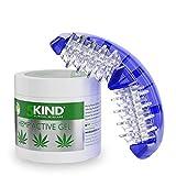 5kind Rullo Massaggio + Pomata Antinfiammatoria alla Canapa 300ML | Massaggiatore Manuale Muscolare Schiena Gambe Cervicale Collo Spalle Piede Polpaccio | Gel Antidolorifico con Olio di Cannabis