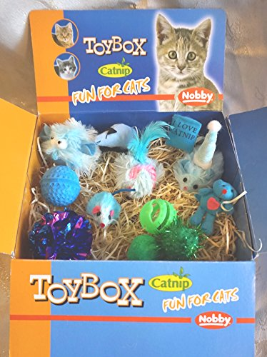 LUXURY CAT CHRISTMAS GIFT BOX IN BOYIISH BLUES & GREENS 12 CATNIP CAT TOYS
