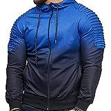 SEEU Herren Sweatjacke Pullover Kapuzenpullover Trainingsanzug Hoodie Gesteppter Jacke Basic Langarm Oversize Shirt Sweater Blau L