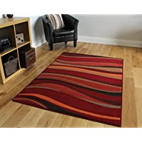 "The Rug House Warm Red, Brown & Burnt Orange Modern Waves Rugs 120cm x 170cm (3ft 11"" x 5ft 7""), Polyproplene, Brown/Burnt, 120_x_170_cm"
