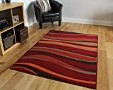 "Warm Red, Brown & Burnt Orange Modern Waves Rugs 80cm x 150cm (2ft 7"" x 4ft 11"")"