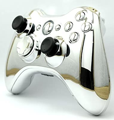 Silver Chrome Custom Wireless Controller Full Shell Case for XBox 360 Control Blast