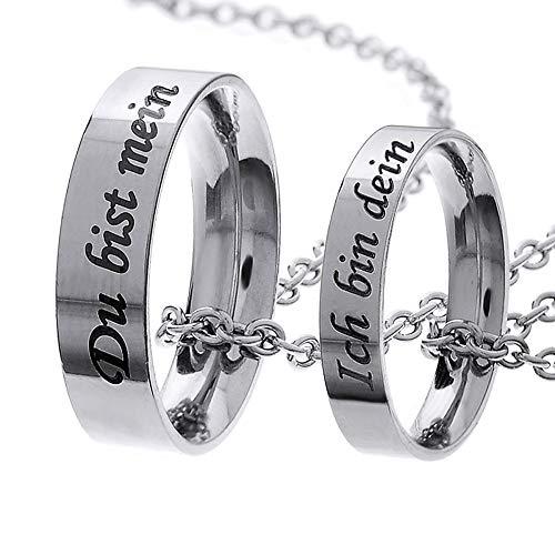 MJARTORIA Damen Halskette Silber Farbe Sperren Schlüssel Partnerketten Freundschftsketten mit Gravur Ring Kreis Ketten für 2 (Dein/Mein)