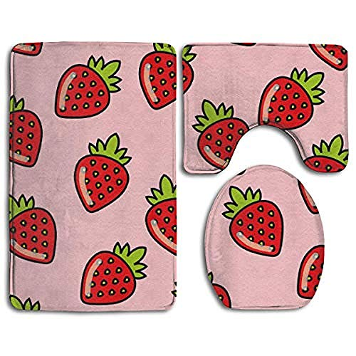 Mangorain, set di tappetini da bagno con fragole rosse su uno sfondo rosa, 3 pezzi, tappetino da bagno antiscivolo + contorno + copriwater