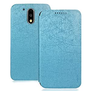 Heartly Premium Luxury PU Leather Flip Stand Back Case Cover For Motorola Moto G Plus 4th Gen / Moto G4 Plus / Moto G4 - Power Blue
