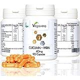 CÚRCUMA + PIPERINA | Cápsulas de curcumina con BioPerina® turmeric | pimienta negra ecológica | Vegano VEGAVERO
