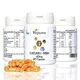 Top Angebot | 6,90€ statt 16,90€ | Vegavero Curcumin + Piperin 410mg | Hochdosiertes Kombipräparat | Immunsystem ? Gewebe ? Verdauung | Vegan (90)