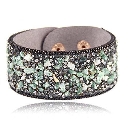 3a5b02dec Brazalete de la pulsera de cadena, Fashion Women Charm Wrap Bracelets Slake  Leather Bracelets With Crystals Stone Couple Jewelry Size 2.8 * 21Cm New ...